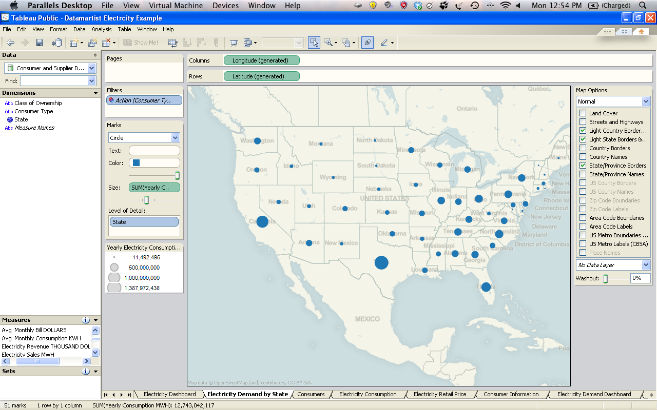 I Then Created A Dashboard Which Displays A Map Of The U S A With The Total Electricity Demand
